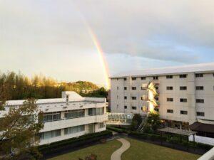 虹 雨上がり 夕方